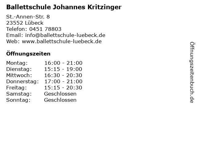 Ballettschule Johannes Kritzinger in Lübeck: Adresse und Öffnungszeiten