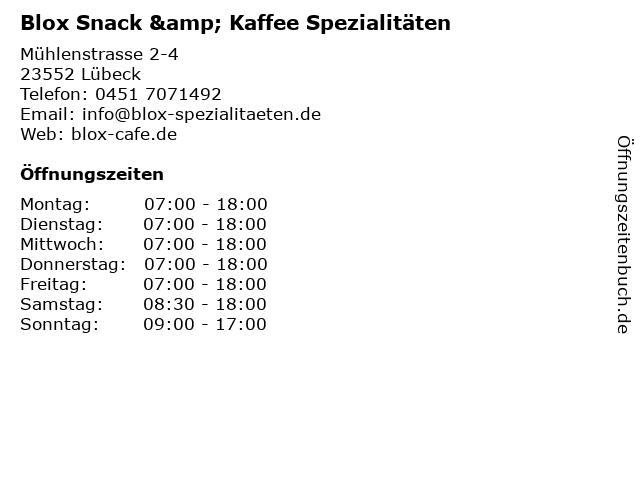 Blox Snack & Kaffee Spezialitäten in Lübeck: Adresse und Öffnungszeiten