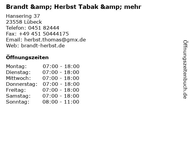 Brandt & Herbst Tabak & mehr in Lübeck: Adresse und Öffnungszeiten