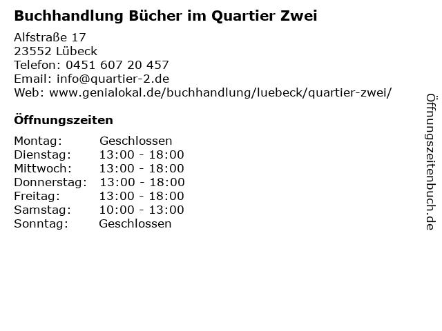 Buchhandlung Bücher im Quartier Zwei in Lübeck: Adresse und Öffnungszeiten