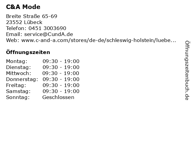 C&A Mode GmbH & Co. KG in Lübeck: Adresse und Öffnungszeiten