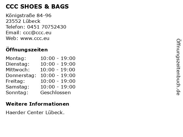CCC SHOES & BAGS in Lübeck: Adresse und Öffnungszeiten