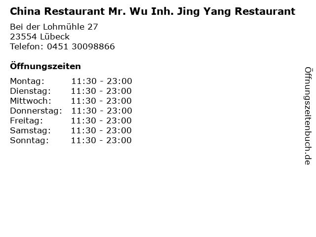 China Restaurant Mr. Wu Inh. Jing Yang Restaurant in Lübeck: Adresse und Öffnungszeiten