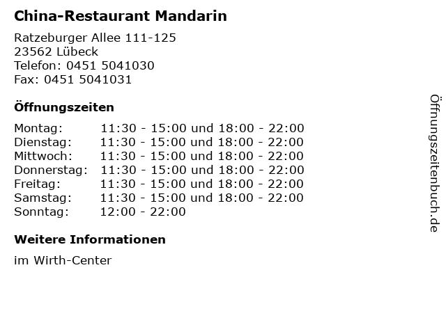 China-Restaurant Mandarin in Lübeck: Adresse und Öffnungszeiten