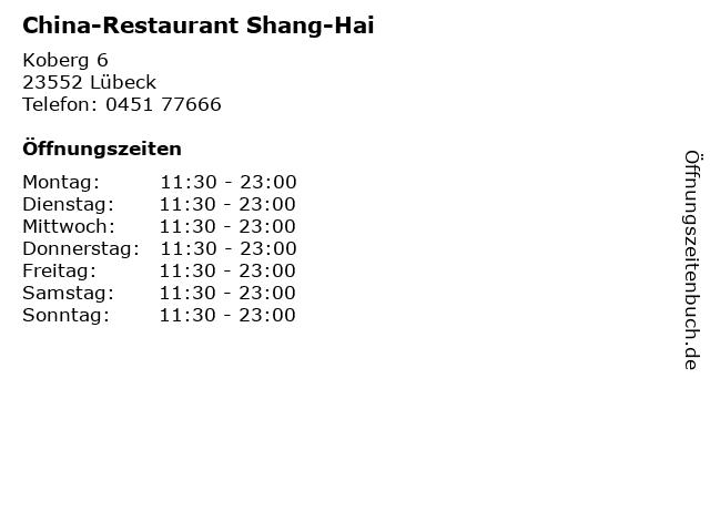 China-Restaurant Shang-Hai in Lübeck: Adresse und Öffnungszeiten