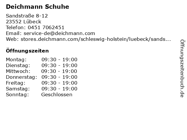 Deichmann Schuhe in Lübeck: Adresse und Öffnungszeiten