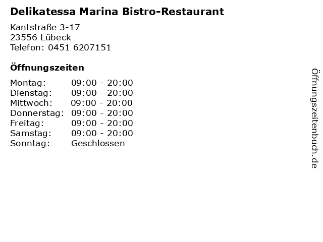 Delikatessa Marina Bistro-Restaurant in Lübeck: Adresse und Öffnungszeiten