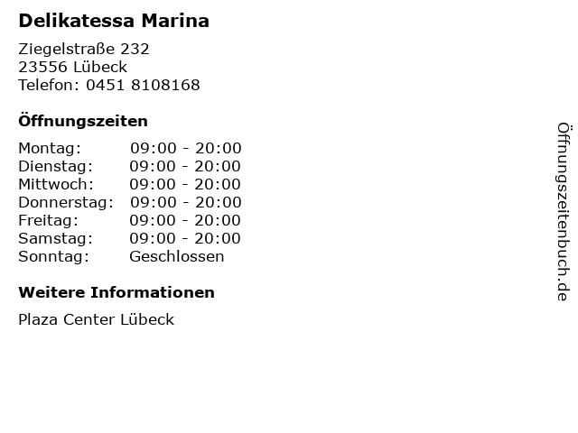 Delikatessa Marina in Lübeck: Adresse und Öffnungszeiten