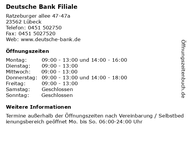 Deutsche Bank Lubeck Offnungszeiten