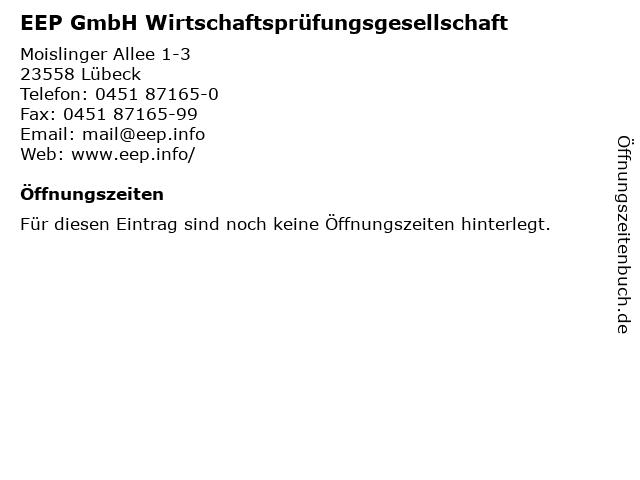 EEP GmbH Wirtschaftsprüfungsgesellschaft in Lübeck: Adresse und Öffnungszeiten