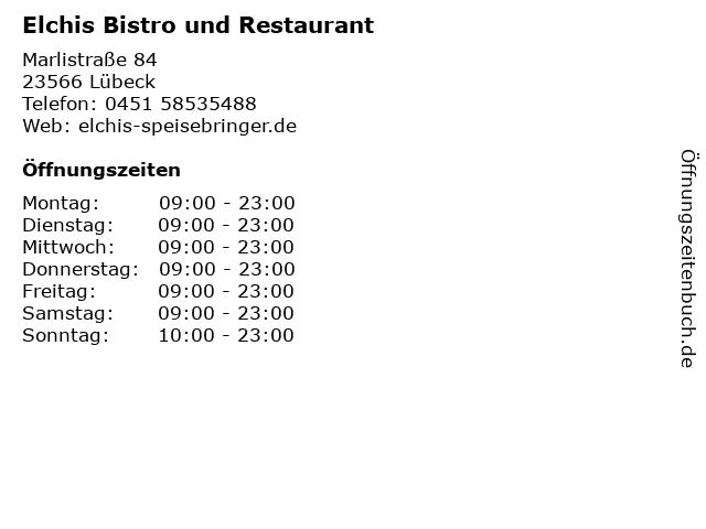 Elchis Bistro und Restaurant in Lübeck: Adresse und Öffnungszeiten