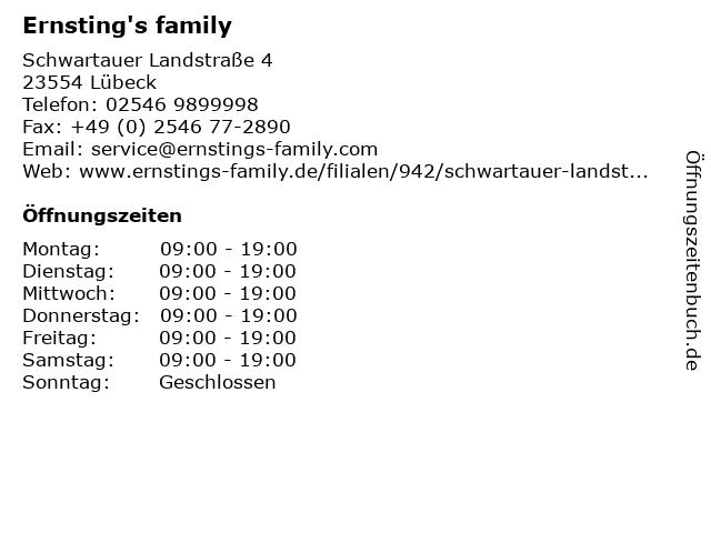 Ernsting's family in Lübeck: Adresse und Öffnungszeiten