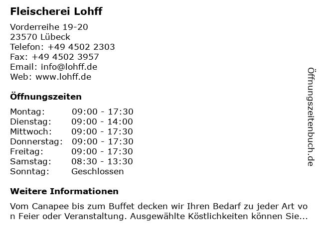 Fleischerei Lohff in Lübeck: Adresse und Öffnungszeiten