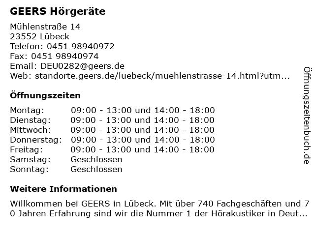 GEERS Hörgeräte in Lübeck: Adresse und Öffnungszeiten
