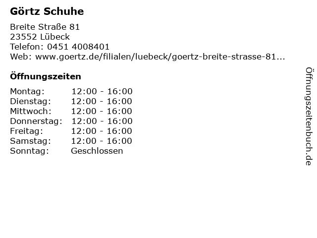 Görtz in Lübeck: Adresse und Öffnungszeiten