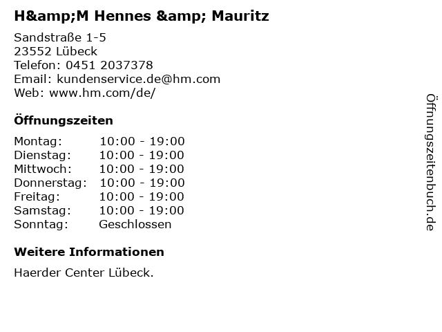 H&M Hennes & Mauritz in Lübeck: Adresse und Öffnungszeiten