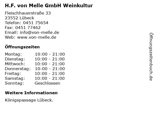 H.F. von Melle GmbH Weinkultur in Lübeck: Adresse und Öffnungszeiten