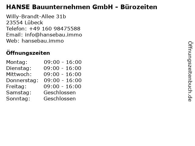 HANSE Bauunternehmen GmbH - Bürozeiten in Lübeck: Adresse und Öffnungszeiten