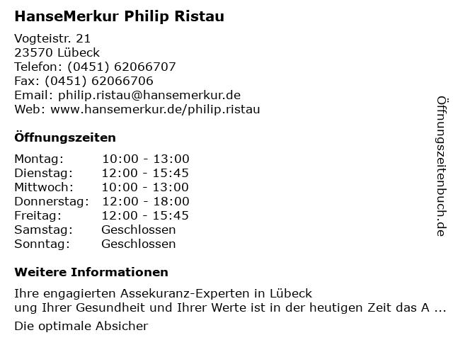 HanseMerkur Philip Ristau in Lübeck: Adresse und Öffnungszeiten