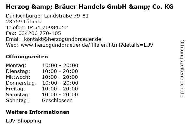 Herzog & Bräuer Handels GmbH & Co. KG in Lübeck: Adresse und Öffnungszeiten