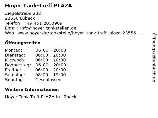 Tank-Treff PLAZA in Lübeck: Adresse und Öffnungszeiten