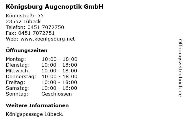 Königsburg Augenoptik GmbH in Lübeck: Adresse und Öffnungszeiten