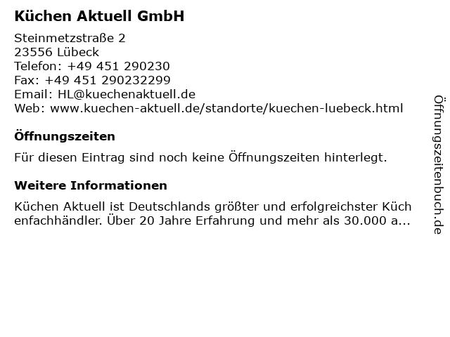 ᐅ Offnungszeiten Kuchen Aktuell Gmbh Steinmetzstrasse 2 In Lubeck