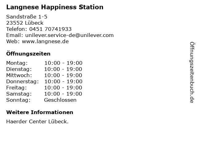 Langnese Happiness Station in Lübeck: Adresse und Öffnungszeiten