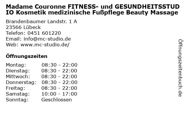Madame Couronne FITNESS- und GESUNDHEITSSTUDIO Kosmetik medizinische Fußpflege Beauty Massage in Lübeck: Adresse und Öffnungszeiten