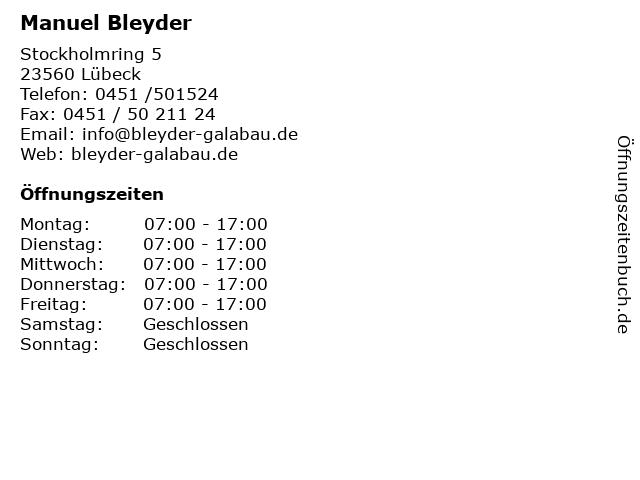 Manuel Bleyder in Lübeck: Adresse und Öffnungszeiten