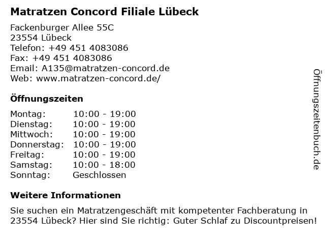 Matratzen Concord in Lübeck: Adresse und Öffnungszeiten