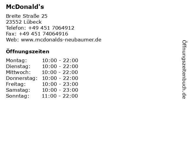 McDonalds Deutschland LLC in Lübeck: Adresse und Öffnungszeiten