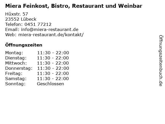 Miera Feinkost, Bistro, Restaurant und Weinbar in Lübeck: Adresse und Öffnungszeiten