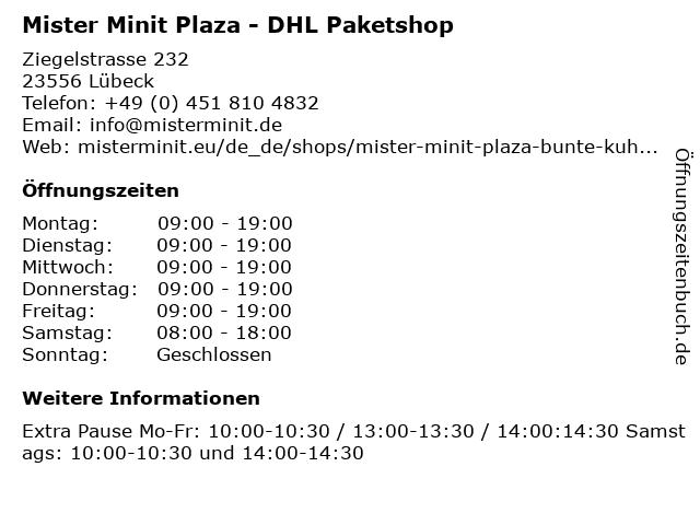 Mister Minit Plaza - DHL Paketshop in Lübeck: Adresse und Öffnungszeiten