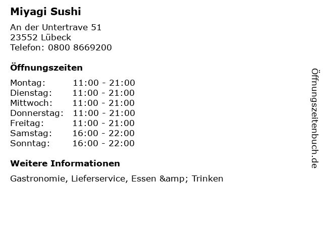 Miyagi Sushi in Lübeck: Adresse und Öffnungszeiten