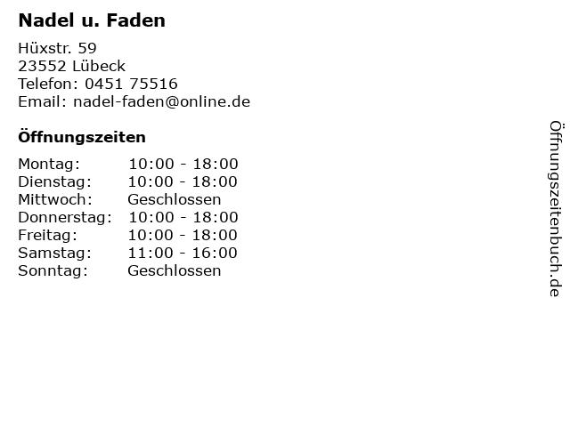 Nadel u. Faden in Lübeck: Adresse und Öffnungszeiten