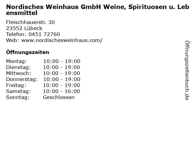 Nordisches Weinhaus GmbH Weine, Spirituosen u. Lebensmittel in Lübeck: Adresse und Öffnungszeiten