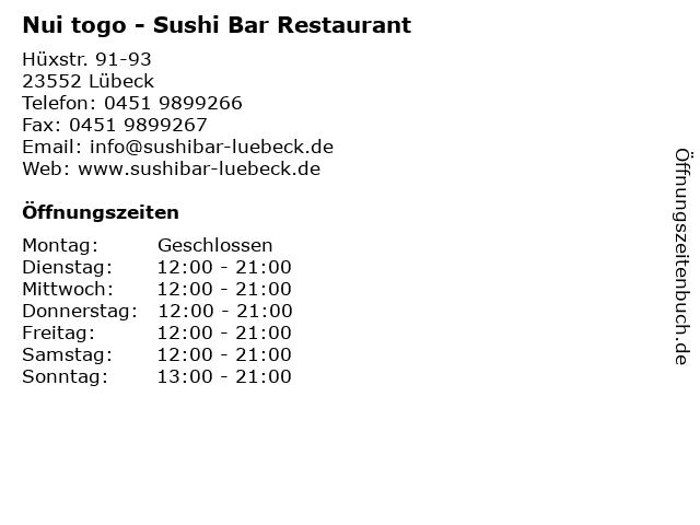 Nui togo - Sushi Bar Restaurant in Lübeck: Adresse und Öffnungszeiten