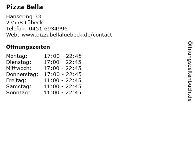 Pizza Bella in Lübeck: Adresse und Öffnungszeiten