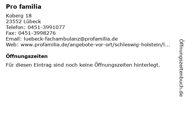 Pro familia in Lübeck: Adresse und Öffnungszeiten