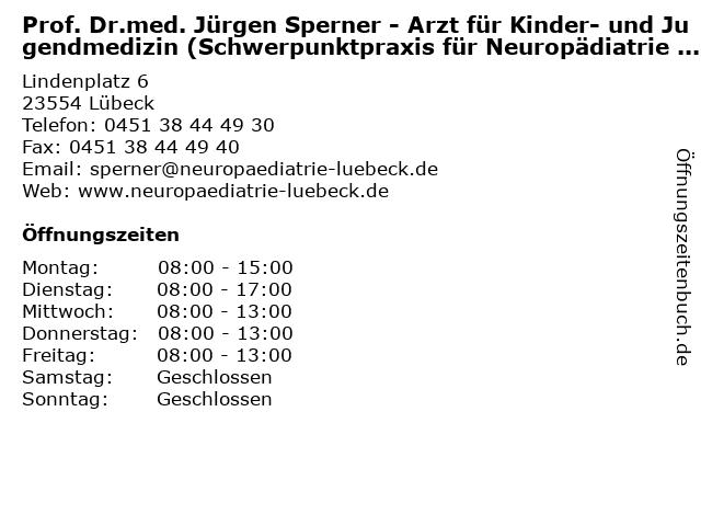 Prof. Dr.med. Jürgen Sperner - Arzt für Kinder- und Jugendmedizin (Schwerpunktpraxis für Neuropädiatrie und Epileptologie) in Lübeck: Adresse und Öffnungszeiten