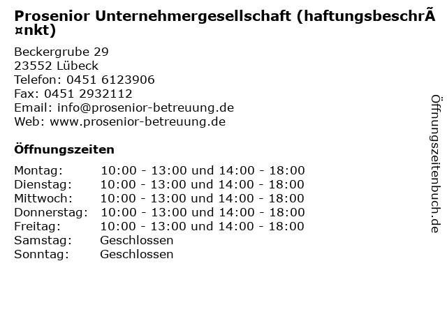 Prosenior Unternehmergesellschaft (haftungsbeschränkt) in Lübeck: Adresse und Öffnungszeiten