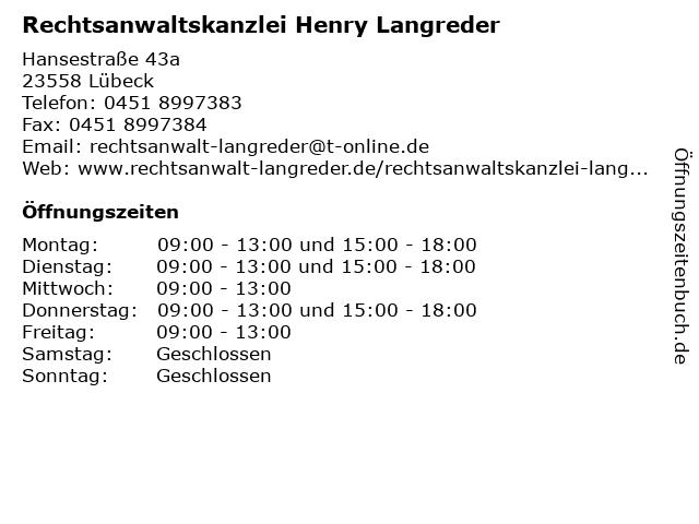 Rechtsanwaltskanzlei Henry Langreder in Lübeck: Adresse und Öffnungszeiten