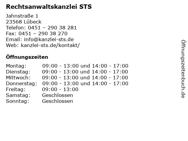 Rechtsanwaltskanzlei STS in Lübeck: Adresse und Öffnungszeiten