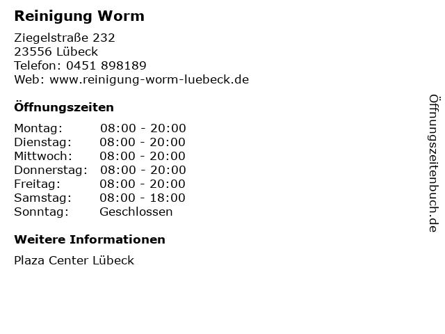 Reinigung Worm in Lübeck: Adresse und Öffnungszeiten