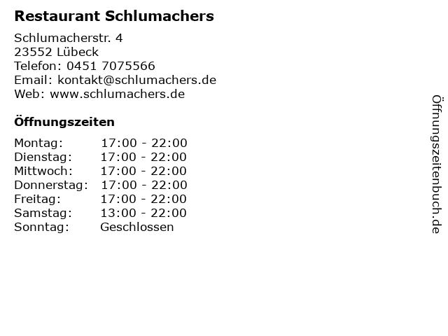 Restaurant Schlumachers in Lübeck: Adresse und Öffnungszeiten