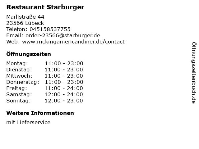 Restaurant Starburger in Lübeck: Adresse und Öffnungszeiten