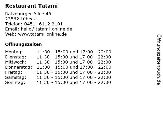 Restaurant Tatami in Lübeck: Adresse und Öffnungszeiten