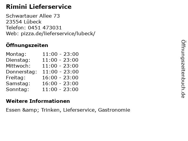Rimini Lieferservice in Lübeck: Adresse und Öffnungszeiten