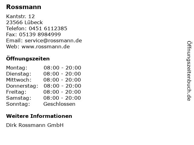 Rossmann in Lübeck: Adresse und Öffnungszeiten